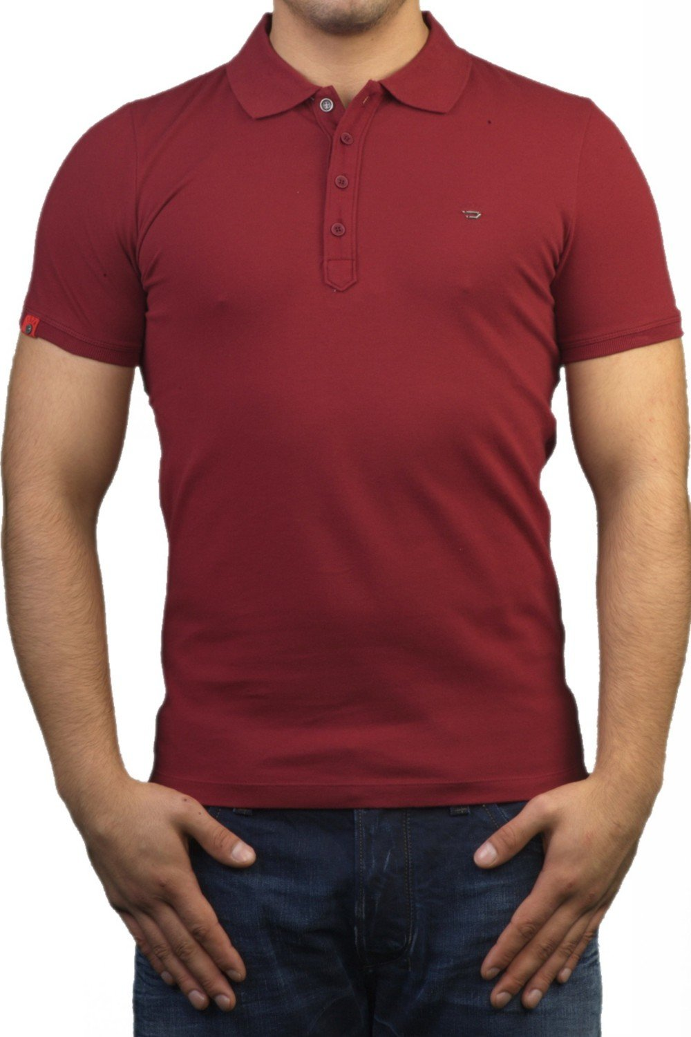 diesel slim fit polo t shirt in burgundy red t nyx 40g ebay. Black Bedroom Furniture Sets. Home Design Ideas