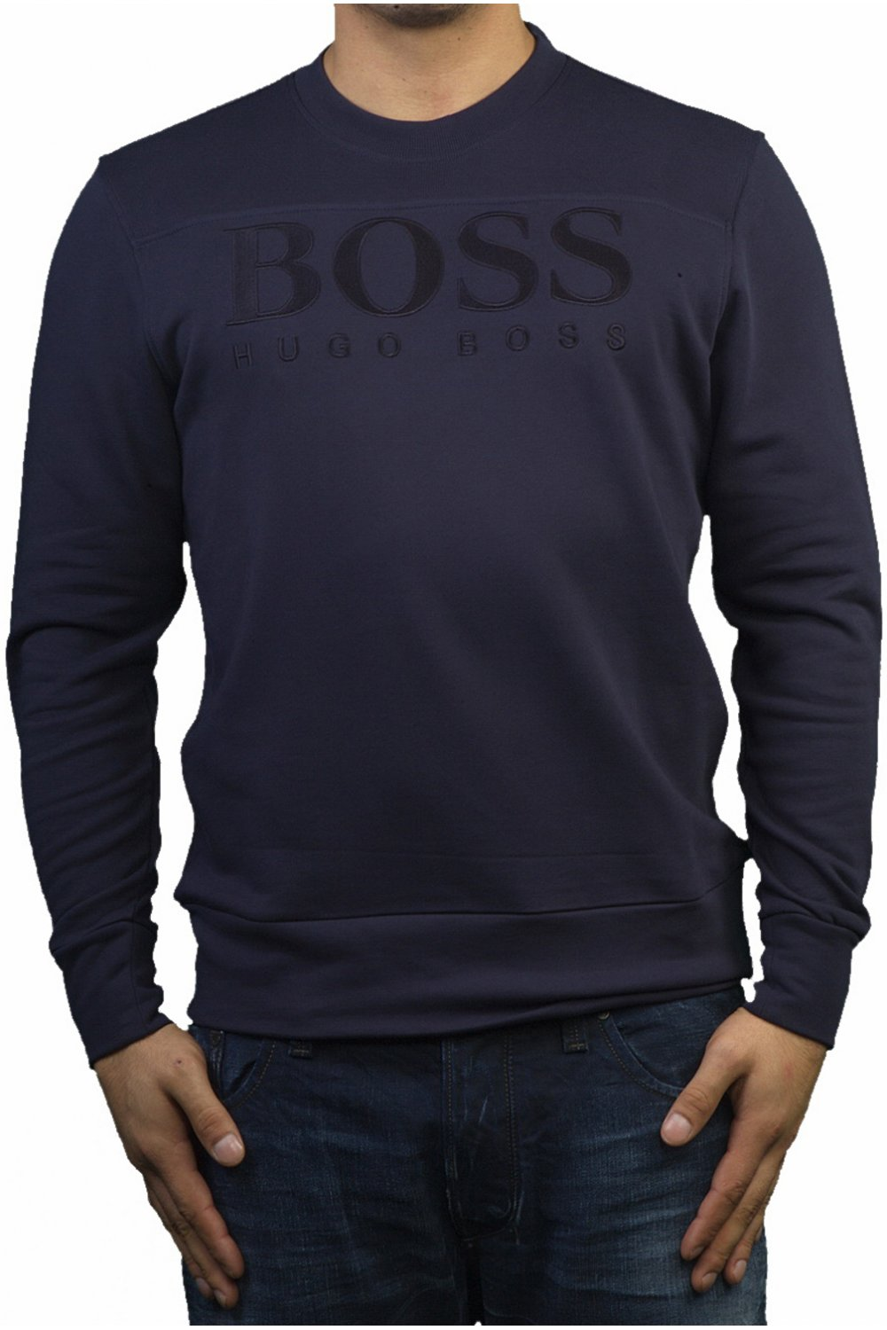 hugo boss regular fit sweatshirt in navy salbo 50230913 410 ebay. Black Bedroom Furniture Sets. Home Design Ideas