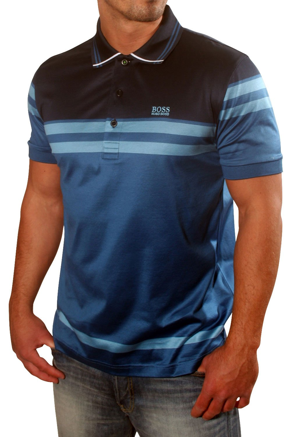 hugo boss green short sleeved striped polo shirt in navy. Black Bedroom Furniture Sets. Home Design Ideas