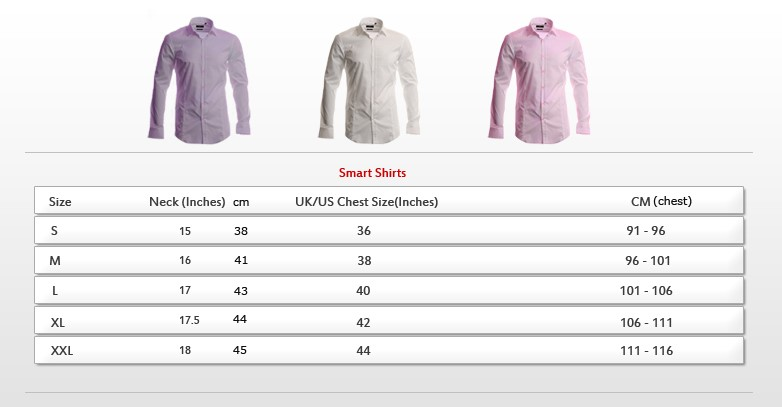 Size guide for Slim fit shirt size chart