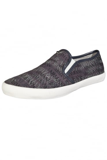 Armani AJ Canvas Slip-On in Navy Blue and Charcoal Grey A652324