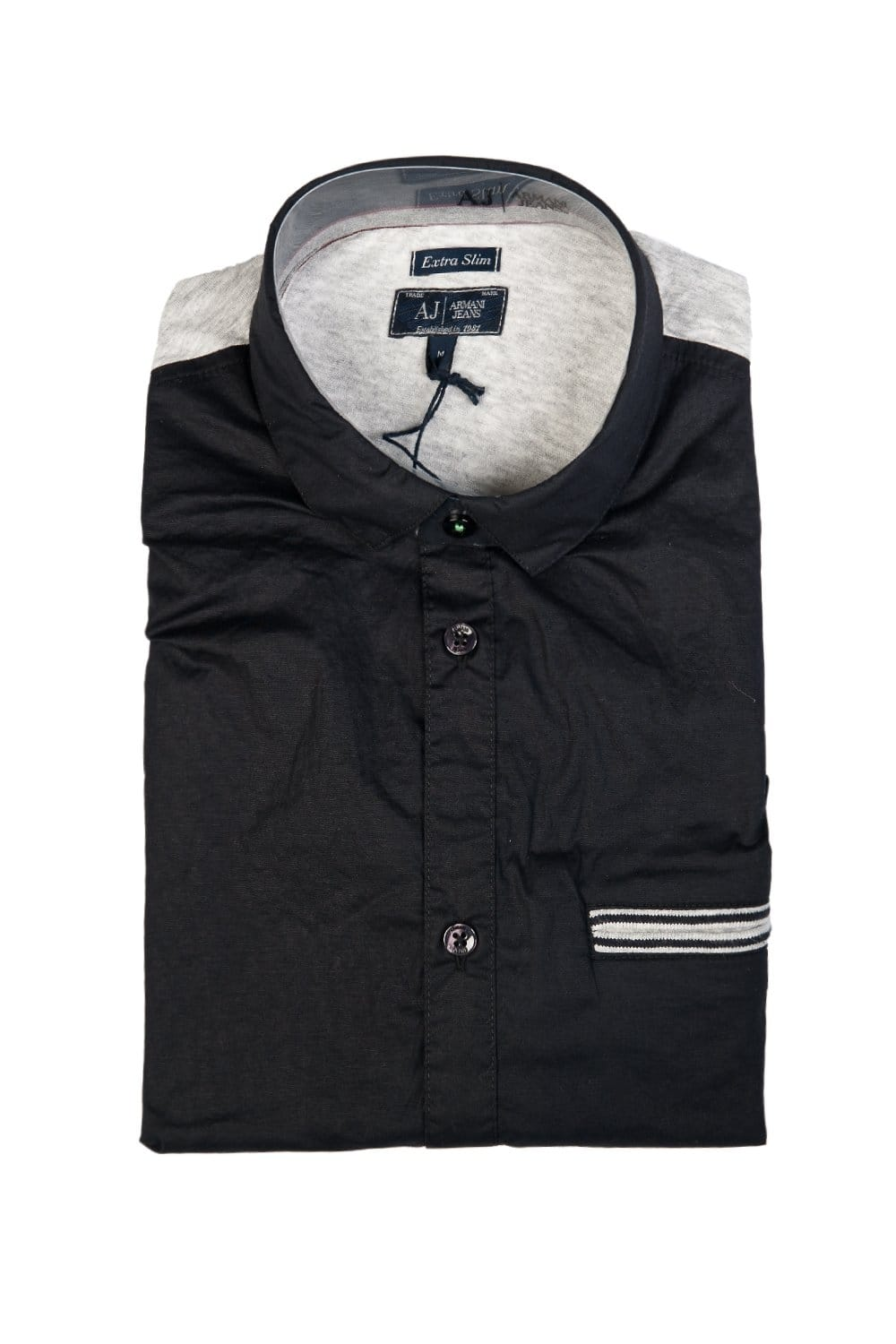 Armani aj extra slim fit shirt in white and navy blue for Extra trim fit dress shirt