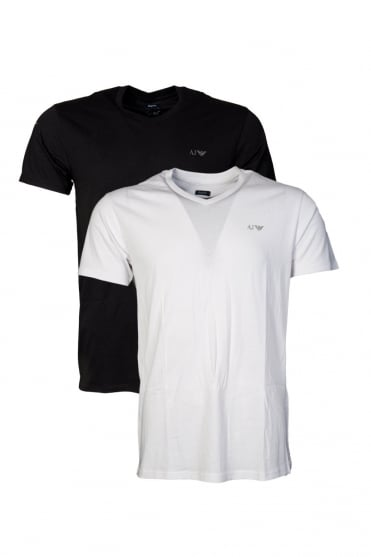 Armani AJ Two Pack Regular V-neck T-shirts in White, Grey and Navy Blue  06802RM