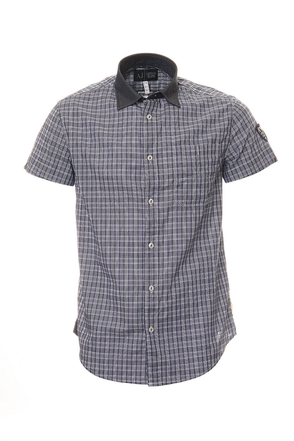 Armani jeans check shirt in navy blue t6c14np clothing for Navy blue checkered dress shirt