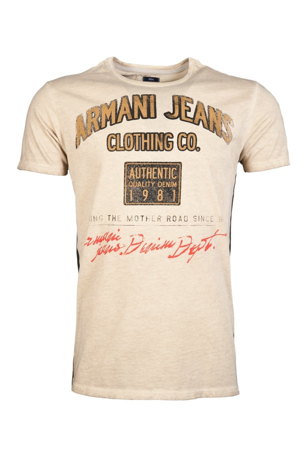 armani jeans designer crew neck t shirt in beige and grey