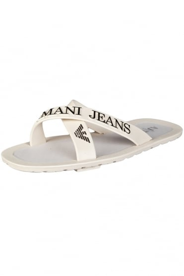 Armani Jeans Designer Flip-Flops in Black, White and Navy Blue 0659769