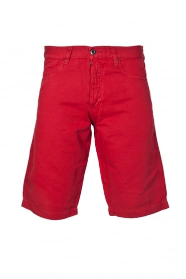 Armani Jeans Designer Linen Shorts in Red  Black and Khaki Green A6S53KG