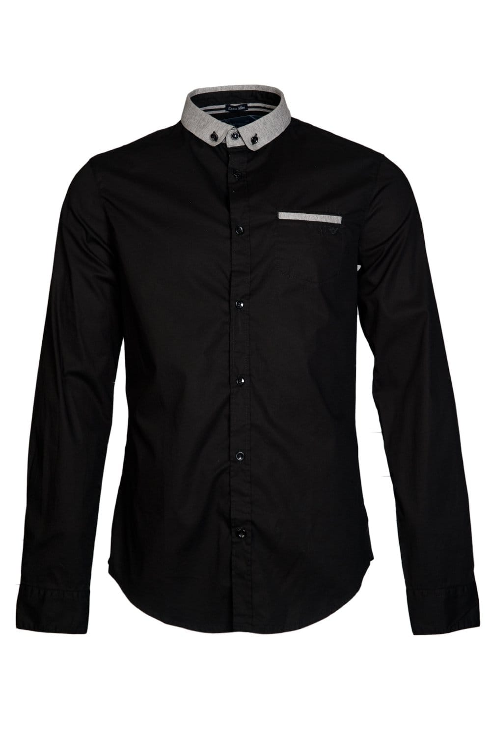 Armani jeans extra slim fit shirt in black white and navy for Extra slim dress shirt