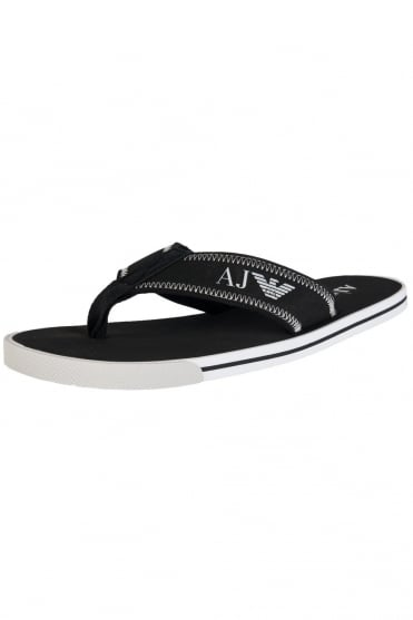 Armani Jeans Flip Flops in White Black and Navy Blue V654442