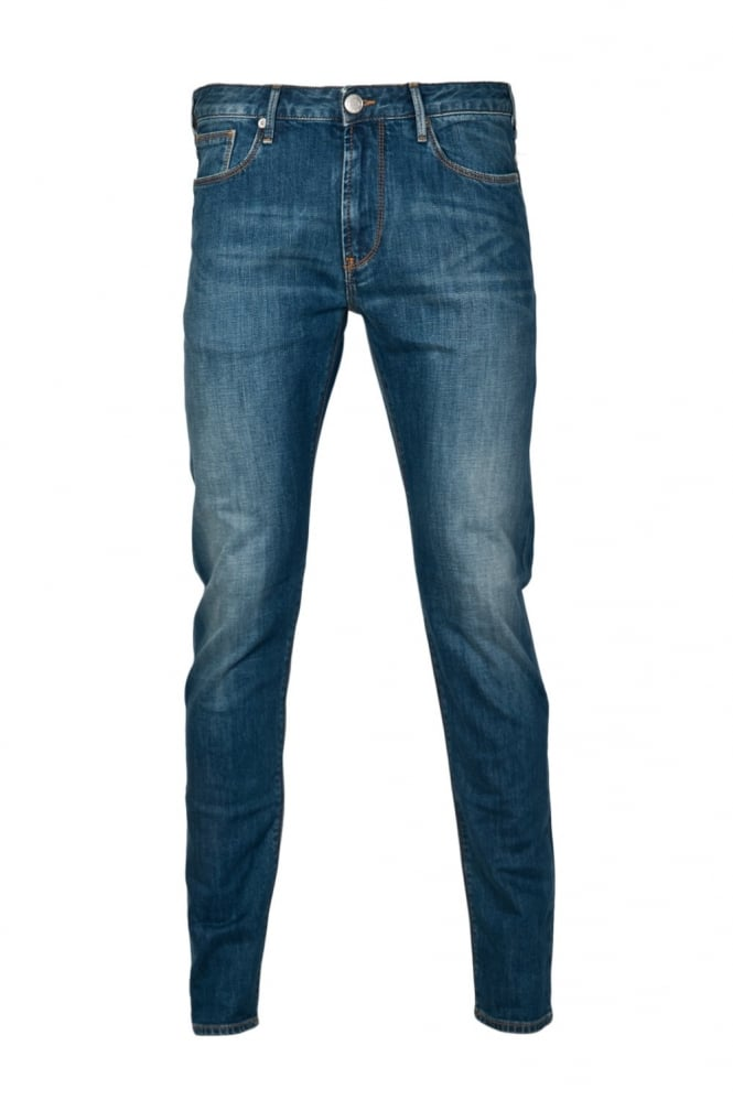 Armani Jeans J06 Designer Slim Fit Denim Jeans in Stonewash Blue 06J83 2U
