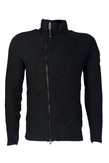 Armani Jeans Knitted Cardigan in Black and Navy Blue Z6W49VM