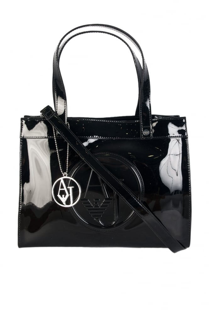 Armani Jeans Ladies Faux Patent Leather Tote Bag in Black and Grey 0520ARJ