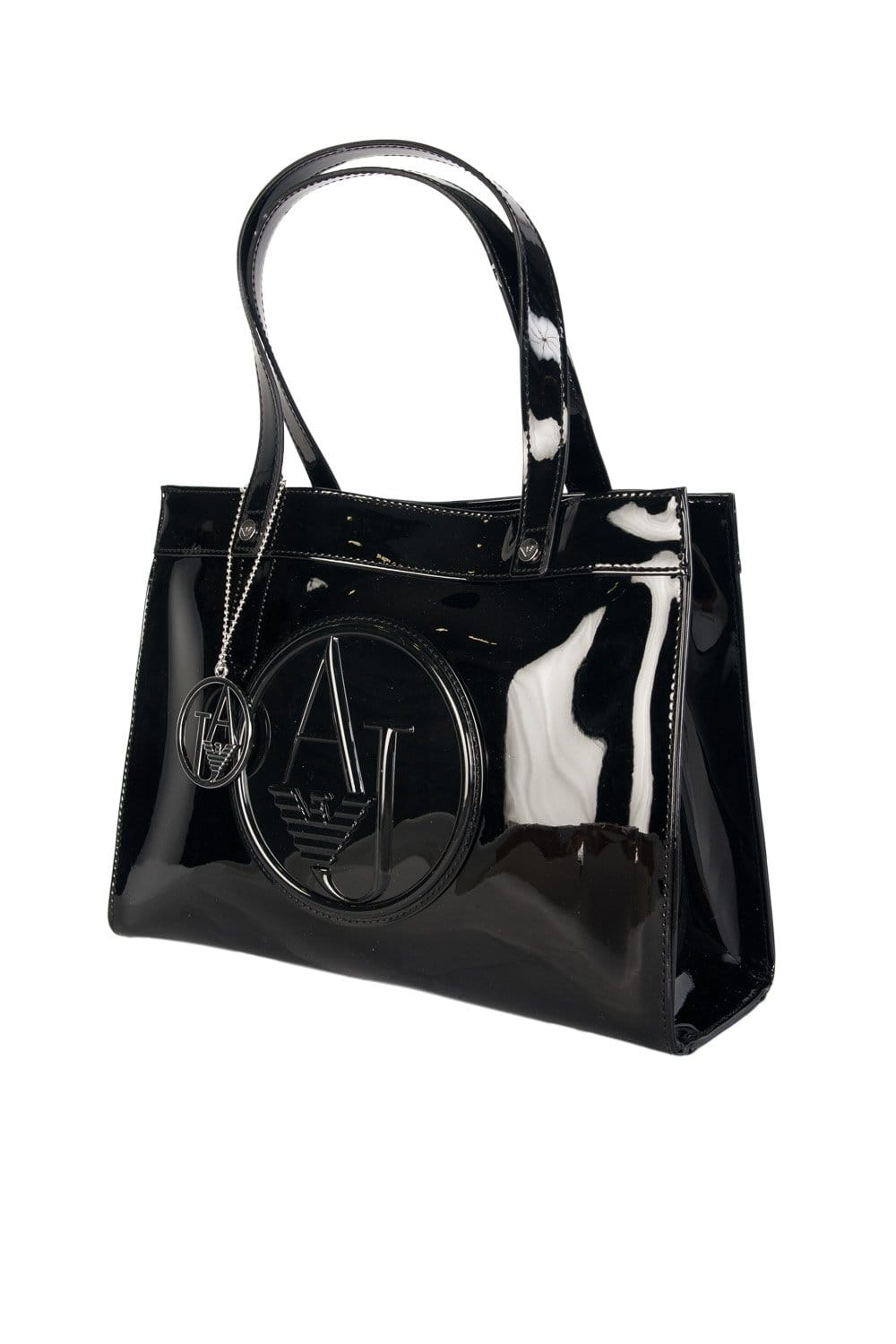 5fe5fe11db21 Armani Jeans Ladies Faux Patent Leather Tote Bag in Black and Grey 0520ARJ