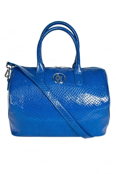 Armani Jeans Ladies Faux Patent Leather Tote Bag in Royal Blue A522AV3