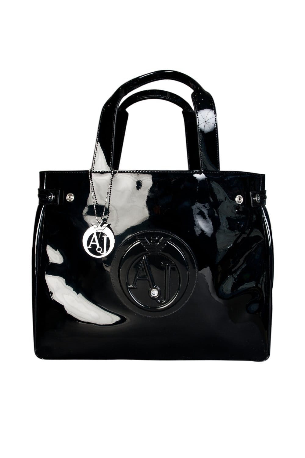 e2dbed12e59b Armani Jeans Ladies Patent Leather Look Shopping Bag in Black 0524655 -  Ladies Accessories from Sage Clothing UK