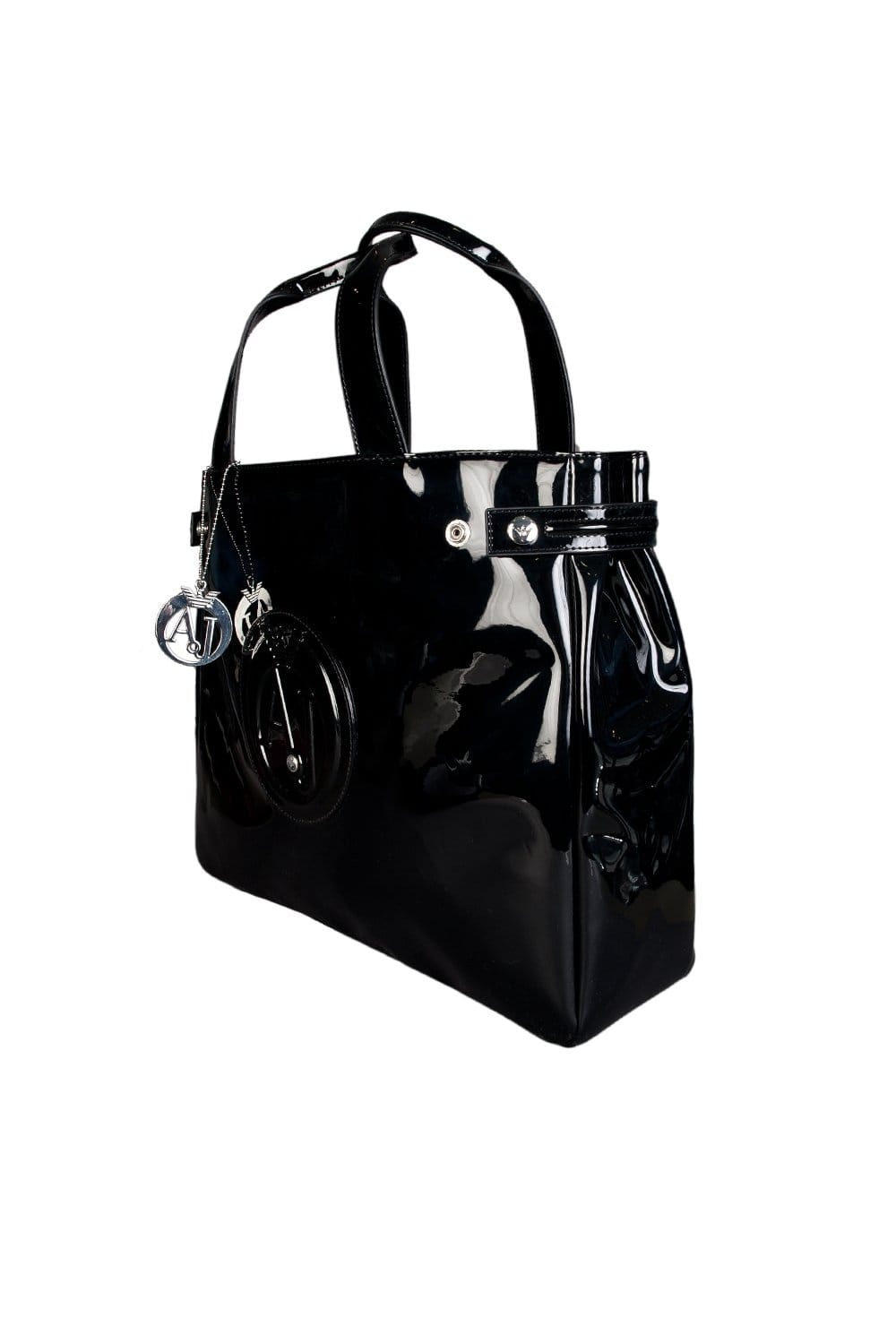 c9aa53bb Armani Jeans Ladies Patent Leather Look Shopping Bag in Black 0524655