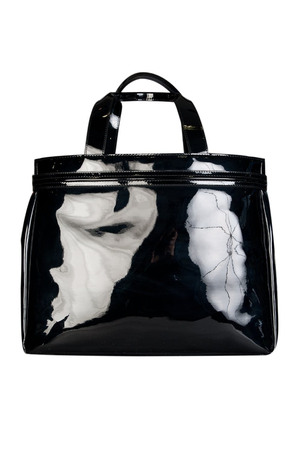 56511a9c0a5b Armani Jeans Ladies Patent Leather Look Shopping Bag in Black 0524655