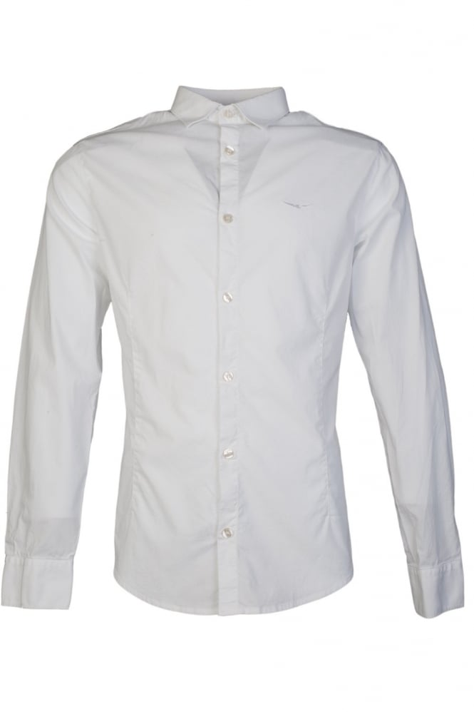 Armani Jeans Shirt in White and Royal Blue U6C60SK