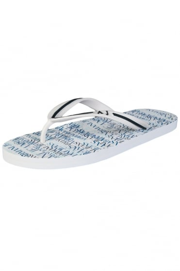 Armani Jeans Summer Flip-Flops in White and Navy Blue A656138