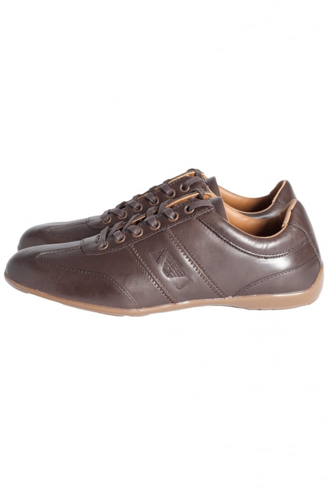 armani trainer shoes in black and brown u6534 t4
