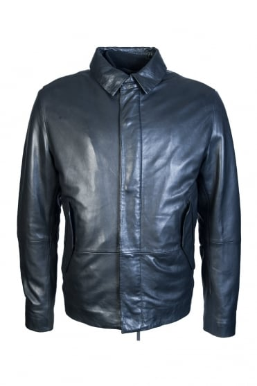 Boss, Hugo Boss Leather Jacket Melbin 50321381