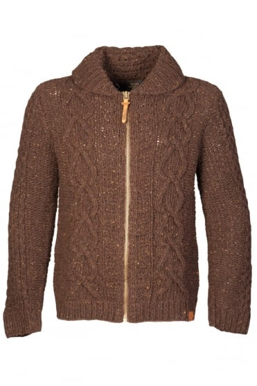 Diesel Zip Up Cardigan Jumper in Brown and Grey K-IDRA
