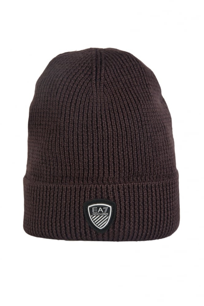 EA7 by Emporio Armani Beanie Hat in Navy Blue Grey and Brown 2755164A394