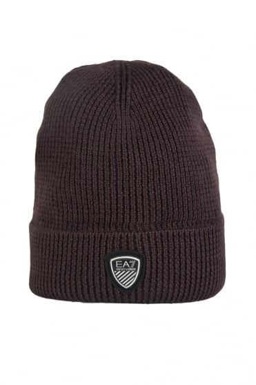 EA7 by Emporio Armani Beanie Hat in Navy Blue, Grey and Brown 2755164A394