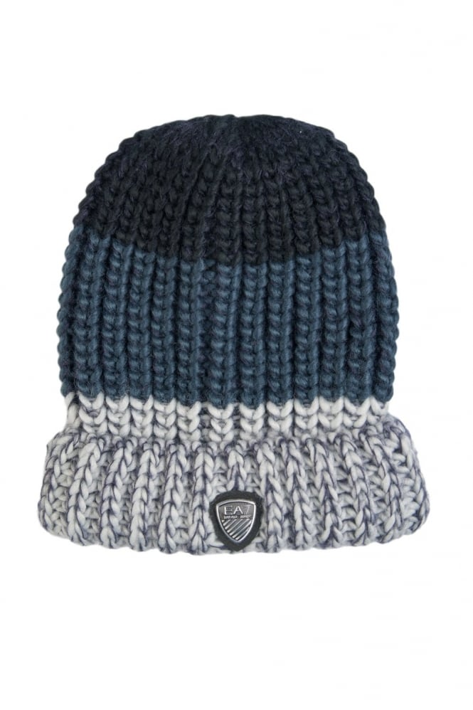 EA7 by Emporio Armani Beanie Hat in Navy Blue  Grey and Brown 2755545A392