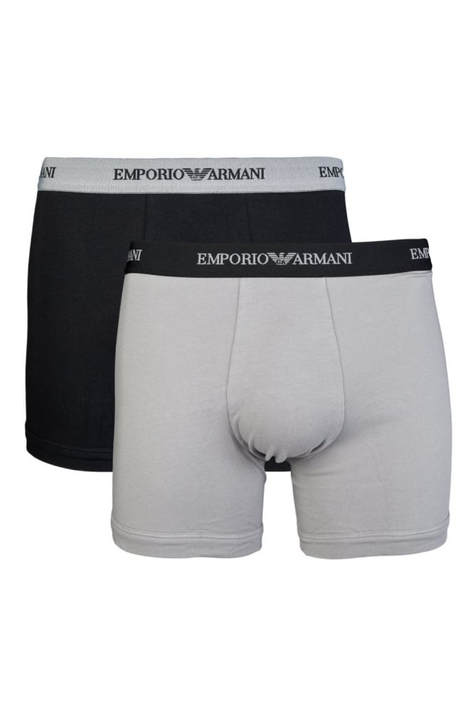 Emporio Armani 2 Pack Boxer Shorts in Black and Grey 111268CC717