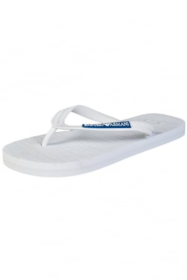 Emporio Armani Designer Flip-Flops in Black, White and Navy Blue 2113015P484