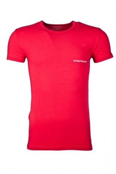 Emporio Armani Fitted Underwear T-shirt in Red and Charcoal Grey 1110355P725