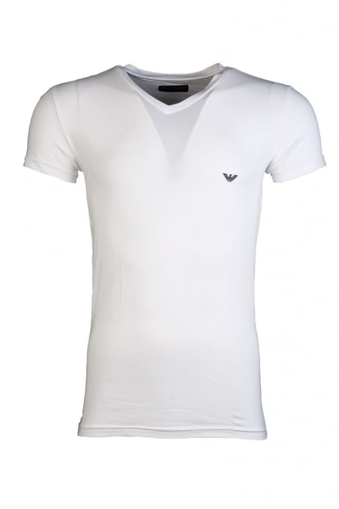 V-neck Underwear T-shirt in Black and White 110752CC518