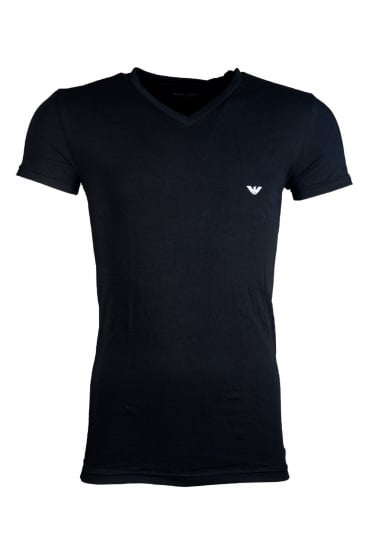 Emporio Armani V-neck Underwear T-shirt in Black and White 110752CC518