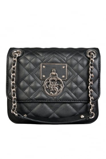 GUESS Designer Shoulder Bag in Black and Ecru HWVG6109210