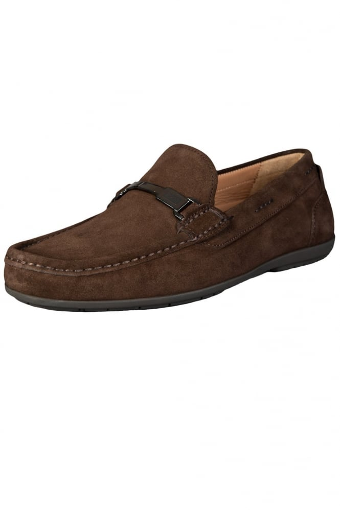 HUGO BLACK Driving Shoes in Brown and Navy Blue FLARRO 50285482