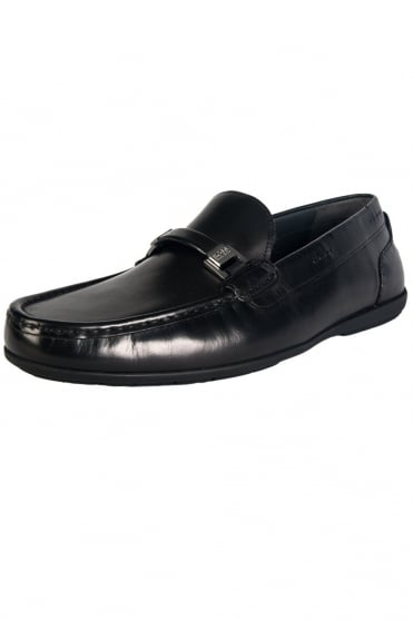 HUGO BOSS BLACK Leather Loafers in Black and Brown FLARIO 50273463
