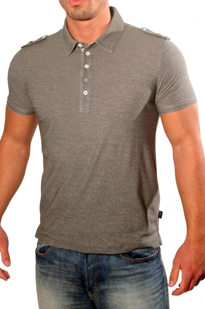 Hugo boss black slim fit polo t shirt in grey marl rapino for Black fitted polo shirt