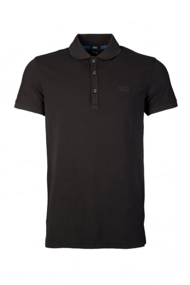 HUGO BOSS BLACK Stretch Polo T-shirt in Black and Purple FORLI 50261035
