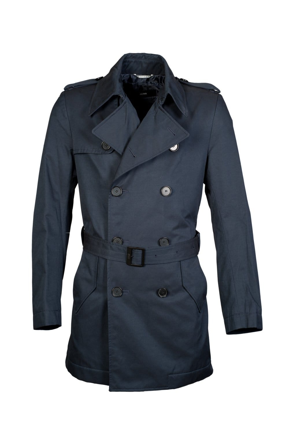 hugo boss black trench coat in navy blue double1 50247875. Black Bedroom Furniture Sets. Home Design Ideas