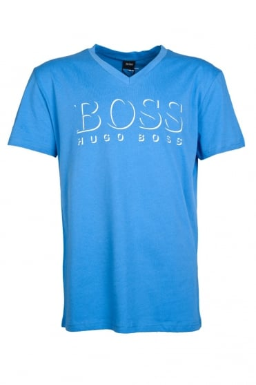 HUGO BOSS BLACK V-Neck Printed T-shirt in Black  White  Orange and Blue SHIRT SS VN BM 50286758