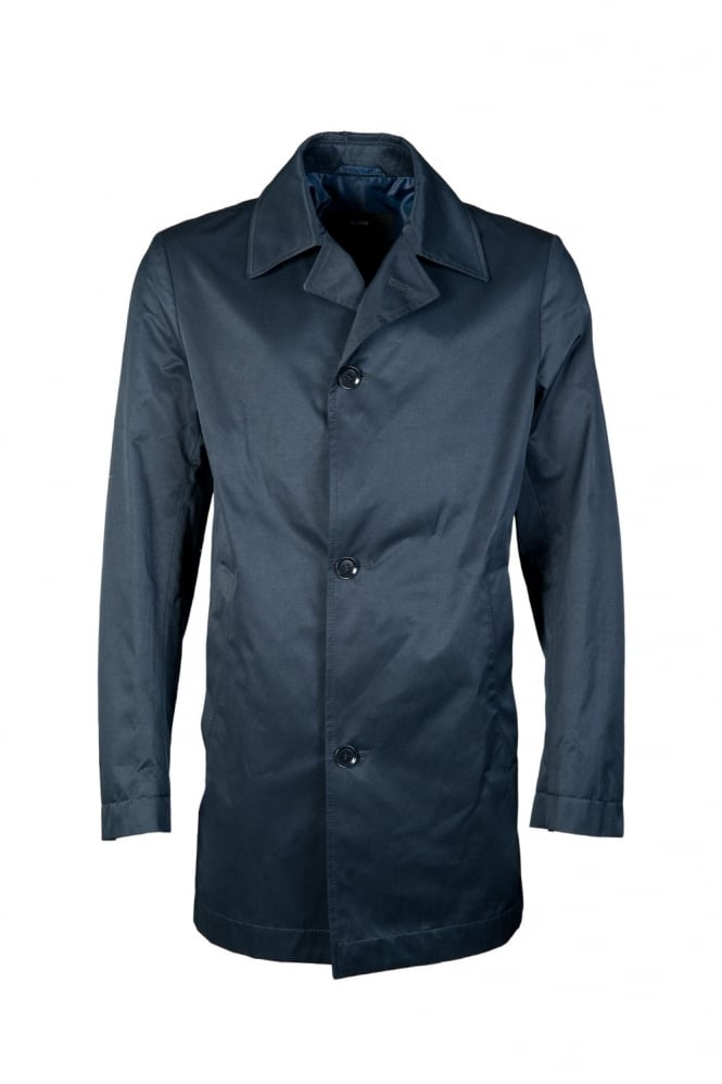 hugo boss black water repellent trench coat in navy blue. Black Bedroom Furniture Sets. Home Design Ideas