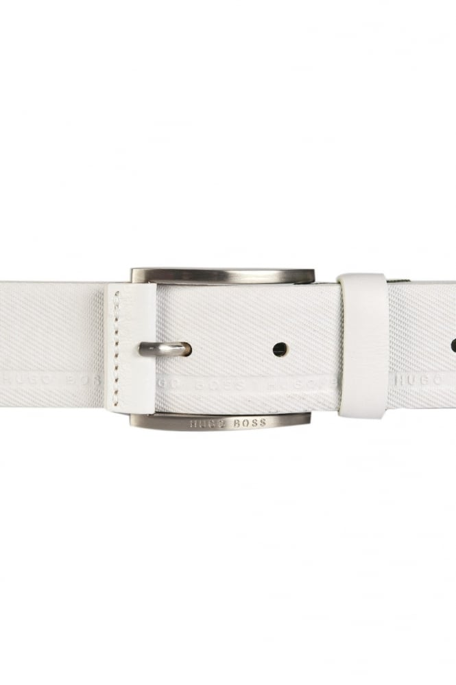 HUGO Designer Leather Belt in Black and White TYMO 50280785