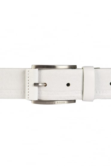 HUGO BOSS GREEN Designer Leather Belt in Black and White TYMO 50280785