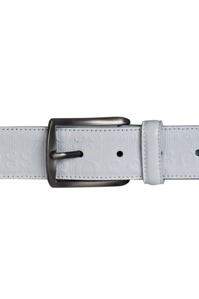 HUGO Leather Belt in White TORIALOS 50256059