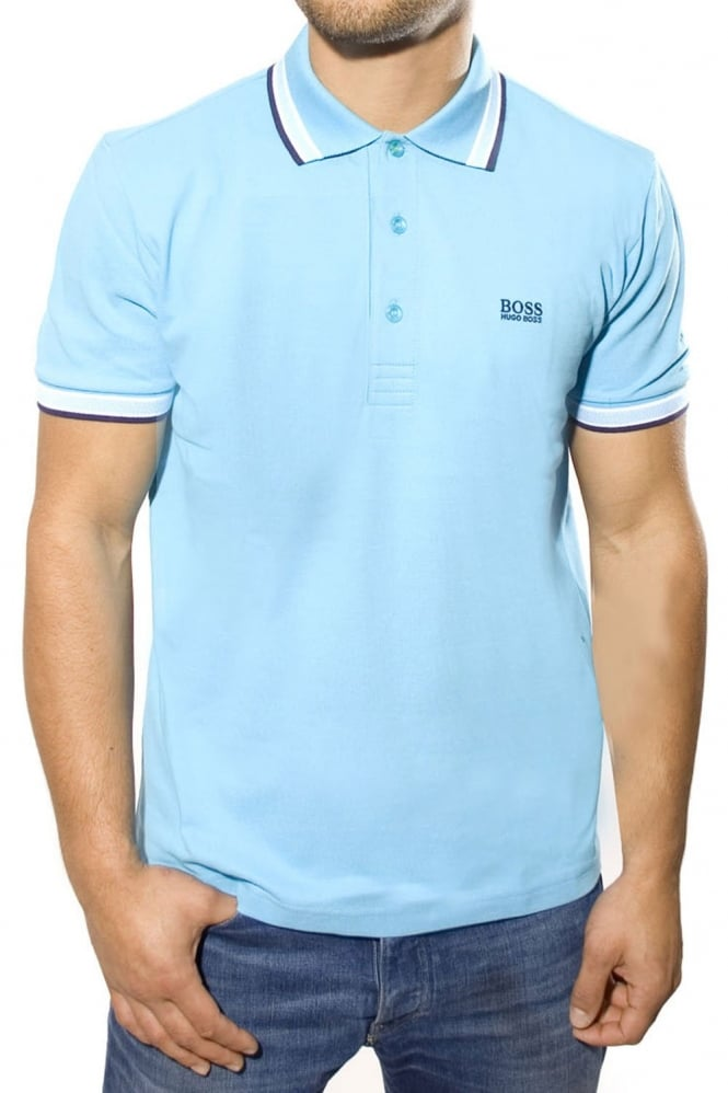 Hugo boss green modern fit polo t shirt in light blue for Hugo boss green polo shirt sale