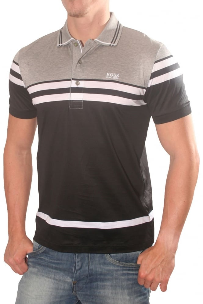 Hugo boss green short sleeved polo shirt in grey black and for Hugo boss green polo shirt sale