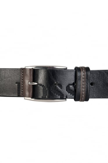 HUGO BOSS Logo Detail Belt in Black, White and Navy Blue MILLOW 50202917