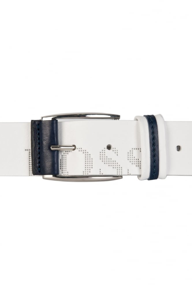 HUGO BOSS Logo Detail Belt in Black  White and Navy Blue MILLOW 50202917
