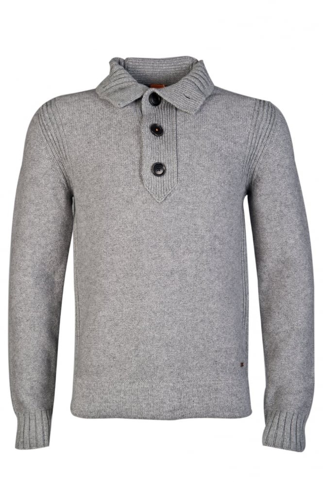 HUGO 1/4 Buttoned Knitwear in Black Grey and Blue AMARE 50275414